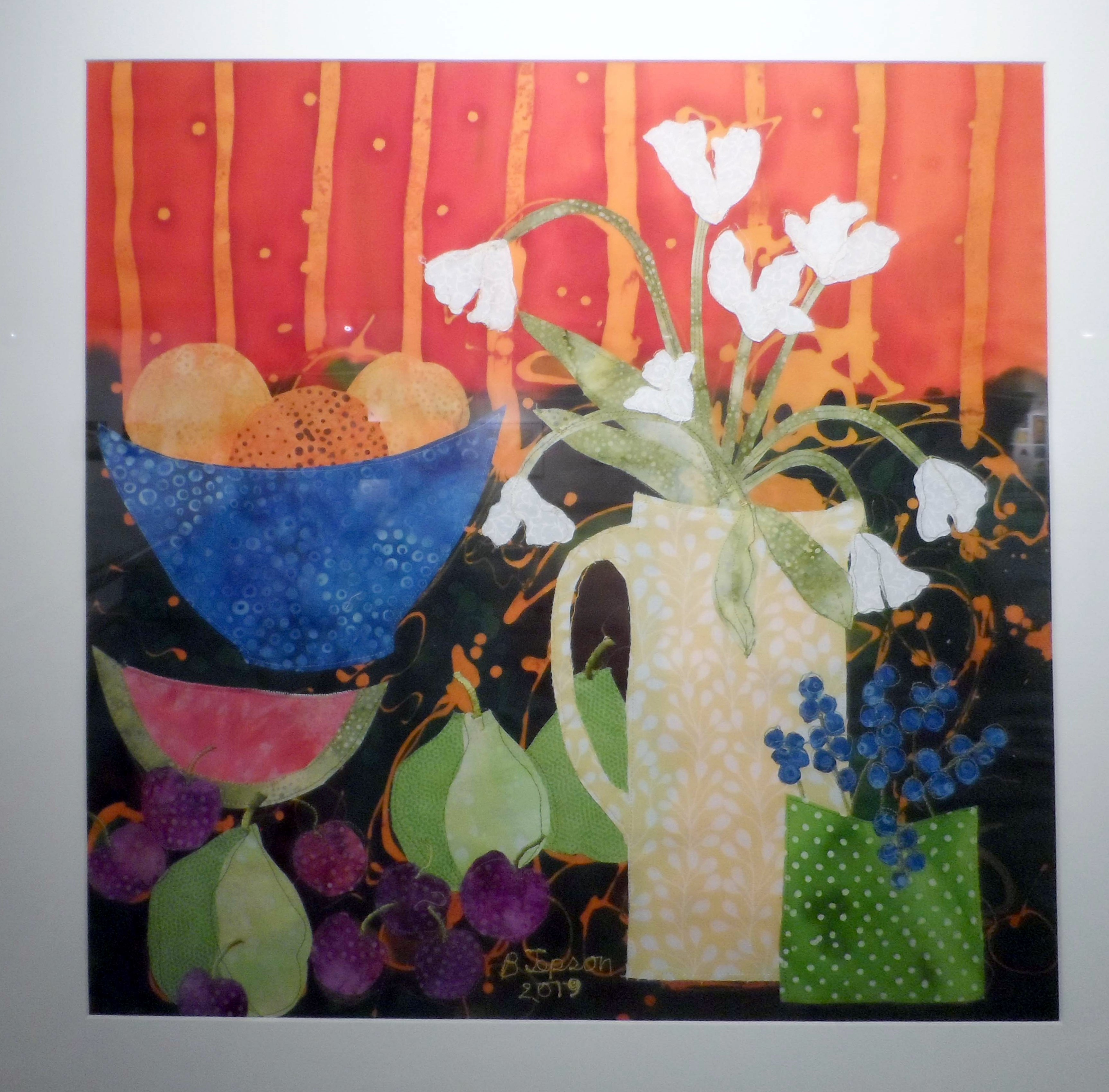 FLOWERS AND FRUIT by Barbara Jepson, batik and applique