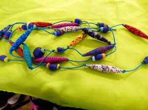 tutor's samples at Fabric Beadmaking workshop with Magie Relph 2019