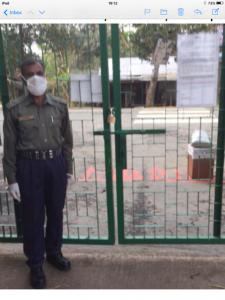 guard at the gate of Sreepur Refuge during corona virus lockdown, April 2020