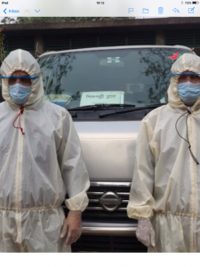 drivers wearing protective clothing ready to go out to buy provisions for Sreepur Refuge during lockdown, April 2020