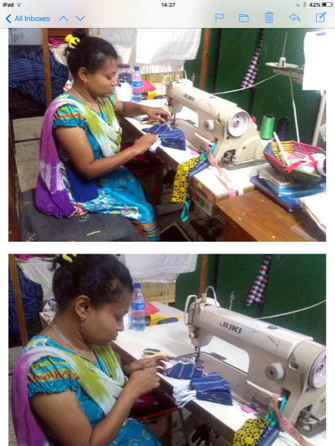 Parul is sewing masks in Sreepur, August 2020