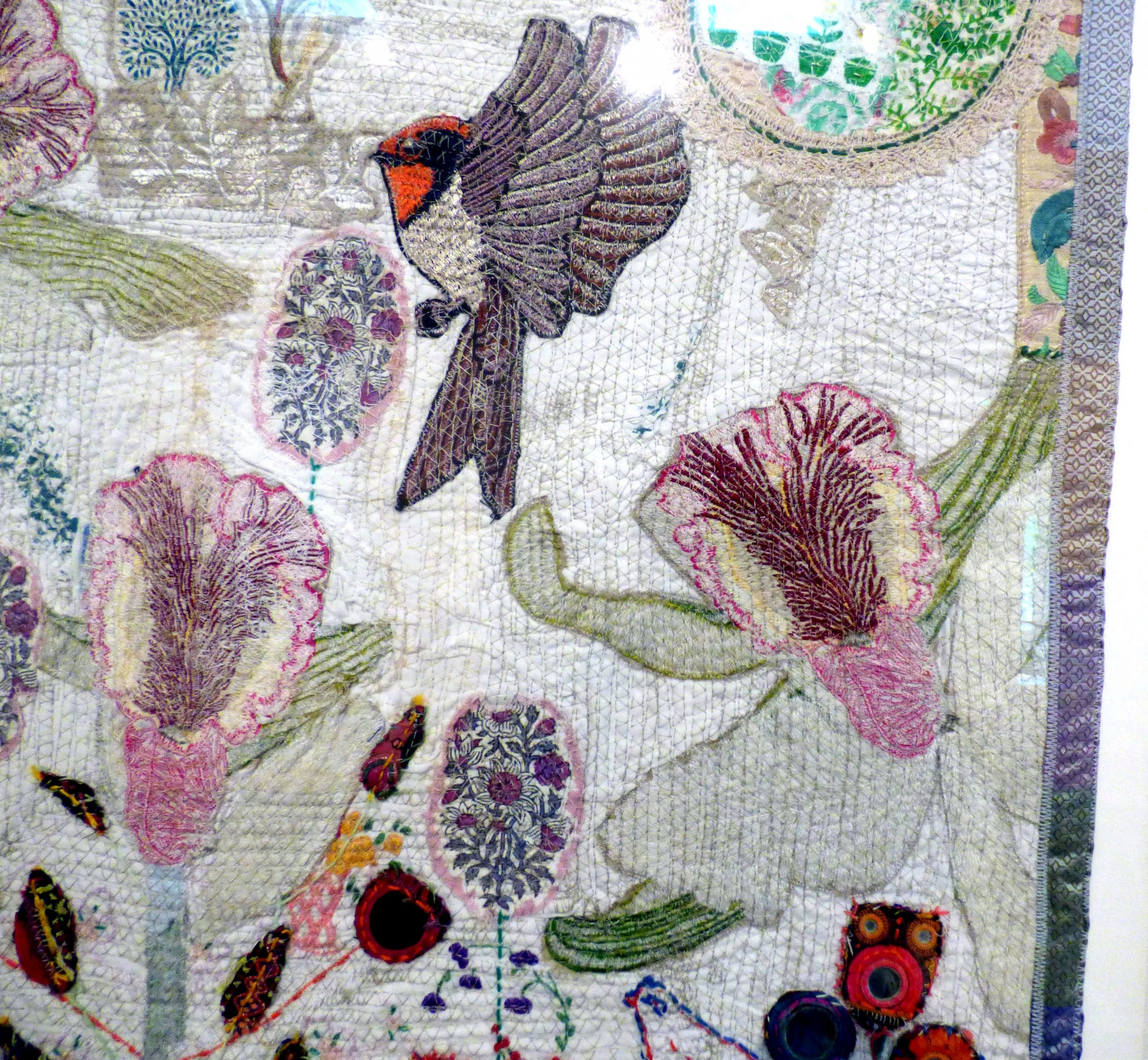 (detail) MAHARINI Gardens, mixed media textiles by Anne Kelly, Ruthin Craft Gallery, July 2021