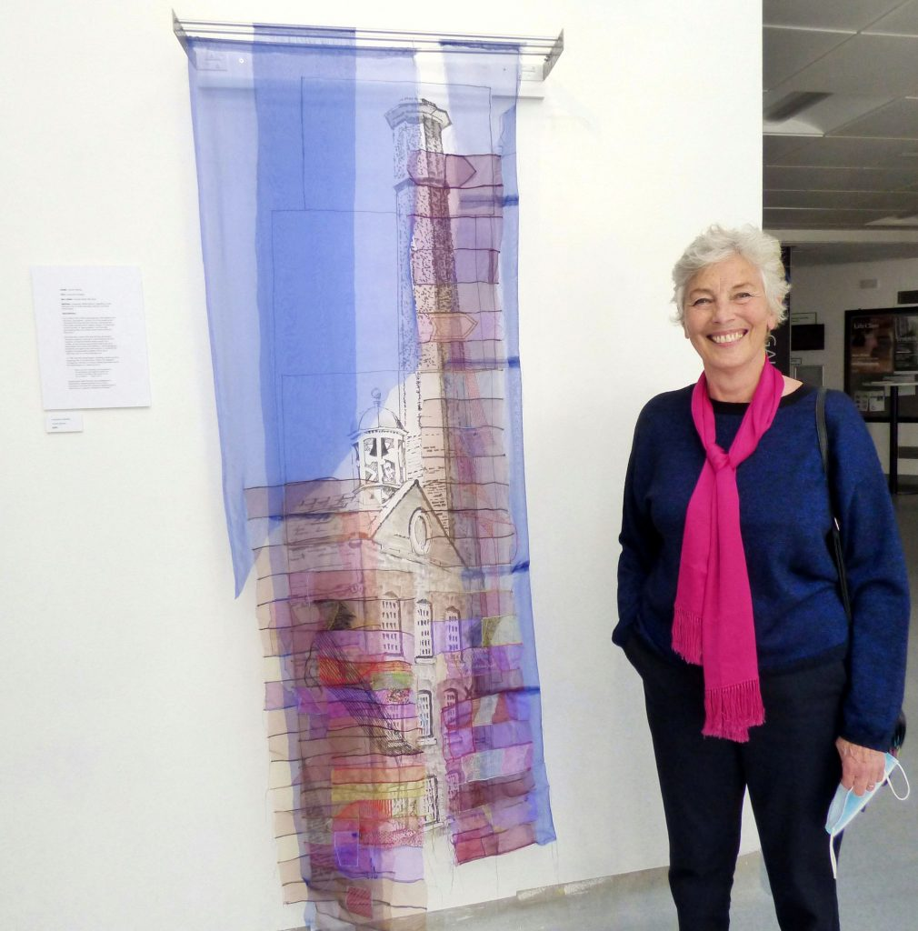 """INDUSTRIAL AFTERLIFE, Quarry Bank Mill, Styal by Janet Grimes, organza, wired ribbons, beading, gold threads, hand and machine embroidery, """"Synergy"""" exhibition by Preston Threads, July 2021"""